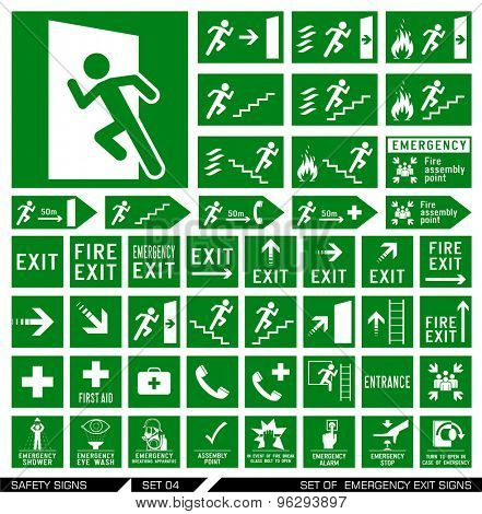 Set of safety signs. Exit signs. Set of emergency exit signs. Collection of warning signs. Vector illustration. Signs of danger. Signs of alerts.