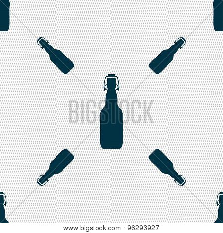 Bottle Icon Sign. Seamless Pattern With Geometric Texture. Vector