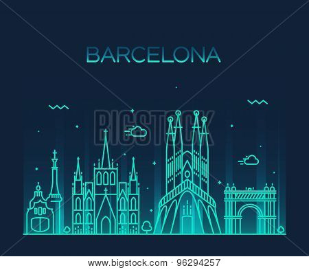 Barcelona City skyline Trendy vector line art
