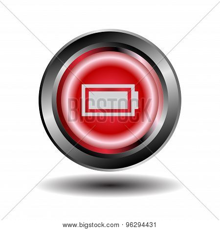 Battery icon button. Set of battery charge level indicators. Vector illustration.
