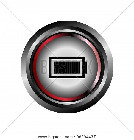Battery sign button glossy web icon vector
