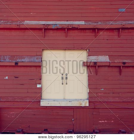 White Weathered Door on Red