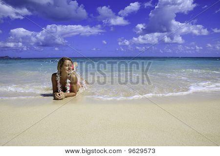 teenage girl in pink bikini
