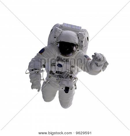 Flying Astronaut On A White Background. ,