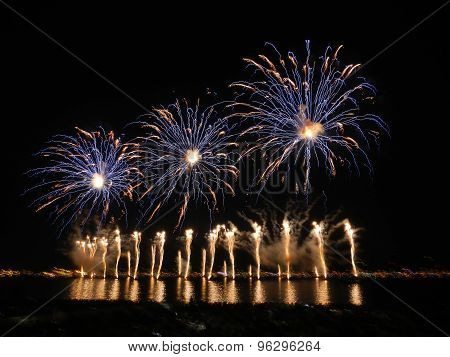 fireworks in bay of Cannes, South of France