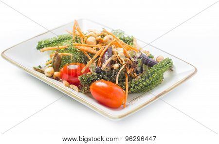 Delicious Salad Alga, Caulopa Macrophysa, Green Caviar, On White Background