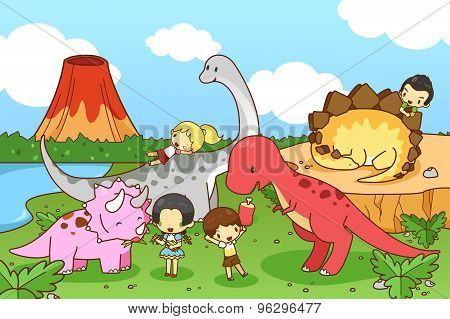 Cartoon Dinosaur World Of Imagination With Kids And Children Playing And Feeding Tyrannosaur, Stegos