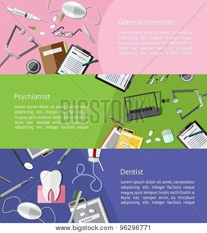 Type Of Physicians Doctor Such As General Internists, Psychiatrist And Dentist Icon Tools Infographi