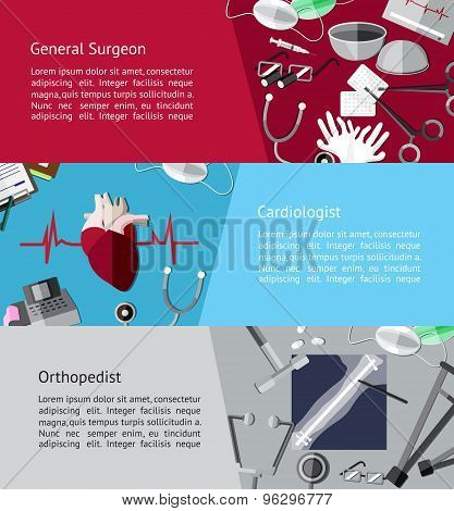 Type Of Specialist Physicians Doctor Such As General Surgeon, Cardiologist And Orthopedist Icon Tool