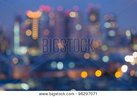 Blurred bokeh city lights, abstract photo background