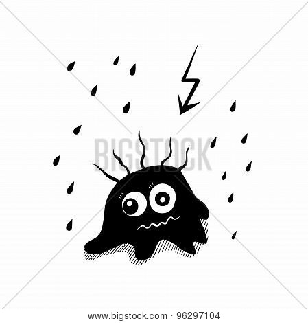 black and white drawing blots shocked rain and lightning