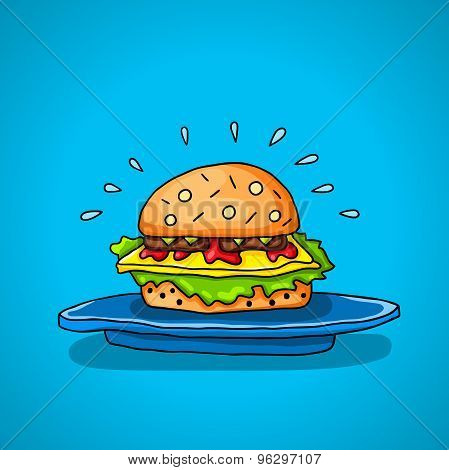 Big hamburger on a blue background