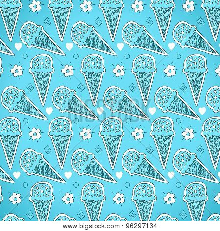 bright pattern of ice cream in a waffle cone and flowers on a light blue background
