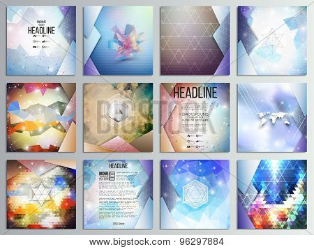 Set of 12 creative cards, square brochure template design, geometric science backgrounds set, abstra