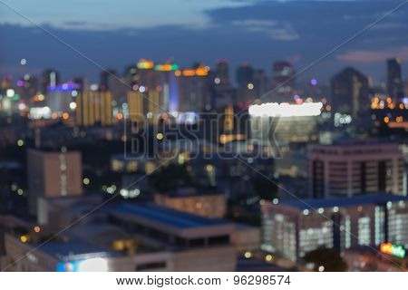 View of city night lights blurred bokeh background