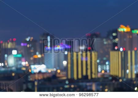 City night lights, abstract bokeh background