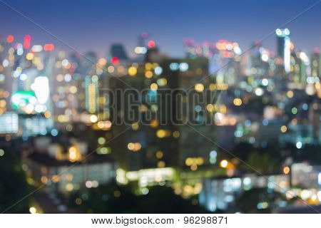 Blurred Photo bokeh of city light at night