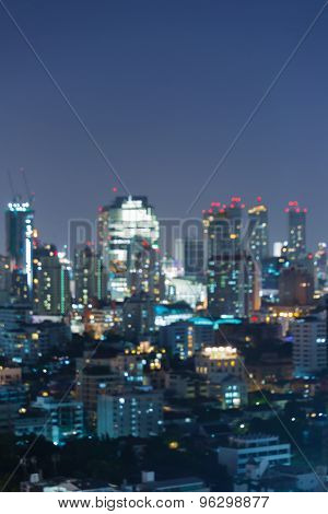 Blurred lights from Bangkok Cityscape of Thailand