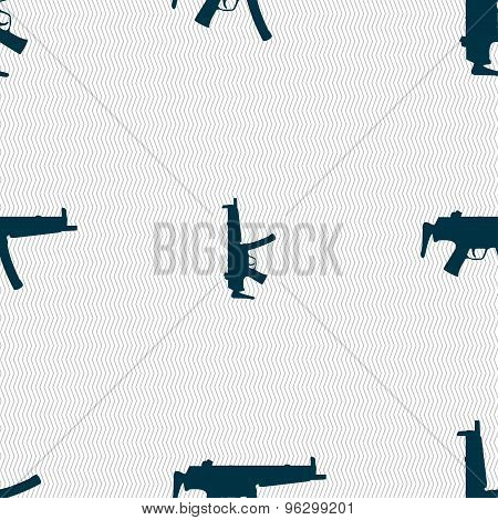 Machine Gun Icon Sign. Seamless Pattern With Geometric Texture. Vector