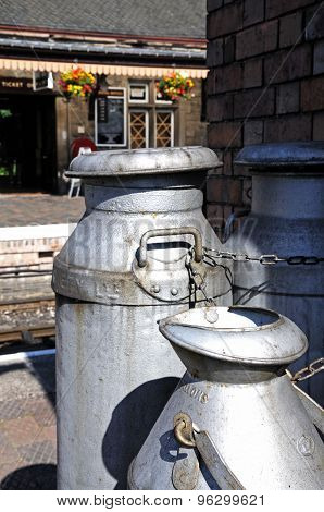 Milk churns at Bridnorth Railway Station.