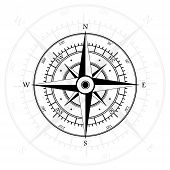 image of wind instrument  - Black wind rose isolated on gray with compass arrow - JPG