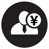 image of yen  - White man silhouette icon with Japanese yen symbol in black circle flat design icon for forums or web - JPG