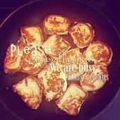 stock photo of french-toast  - intstagram with quote of delicious french toast cooking on pan - JPG