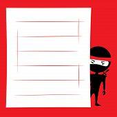 foto of ninja  - Vector illustration of cartoon ninja hiding and spying - JPG