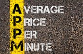 stock photo of average looking  - Concept image of Business Acronym APPM as Average Price Per Minute written over road marking yellow paint line - JPG