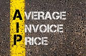 picture of average looking  - Concept image of Business Acronym AIP as Average Invoice Price written over road marking yellow paint line - JPG