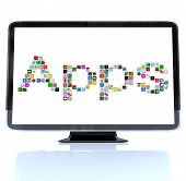 stock photo of high-def  - A HDTV television with the word Apps made of application tile icons - JPG