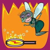 picture of googly-eyes  - Cute little cartoon fly insect in blue with big googly eyes and a protruding proboscis - JPG