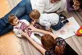 foto of tickling  - family group of five  - JPG