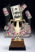 picture of money prize  - American money winner in a gold trophy - JPG
