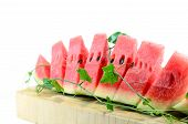 pic of watermelon slices  - Cut slices of watermelon on white background - JPG