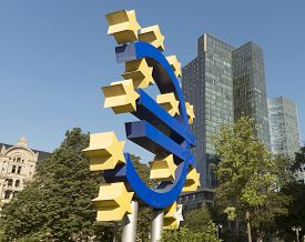 stock photo of frankfurt am main  - The Euro sign in Frankfurt am Main Germany - JPG