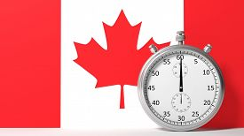 picture of chronometer  - Flag of Canada with chronometer - JPG