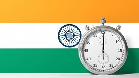 picture of chronometer  - Flag of India with chronometer - JPG