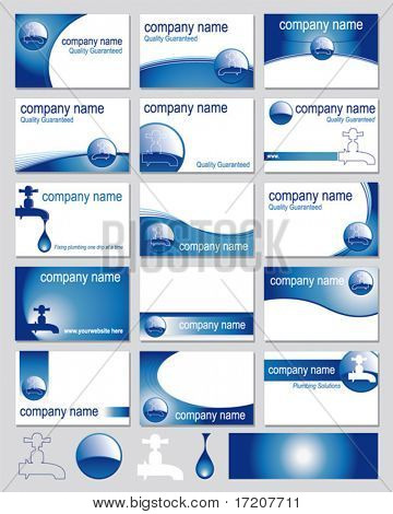 Fifteen designs for plumbers business cards