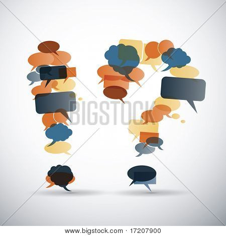 Exclamation and question mark made from speech bubbles with retro colors