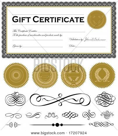 Vector certificate frame and set of vector ornaments. Easy to edit.