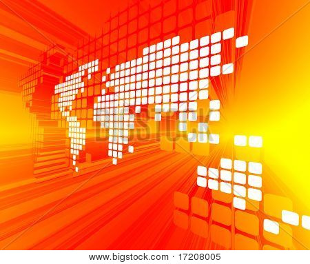 3D concept of white dotted world map on red, yellow background