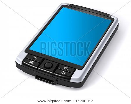3D rendering of isolated pocket pc on white background, included