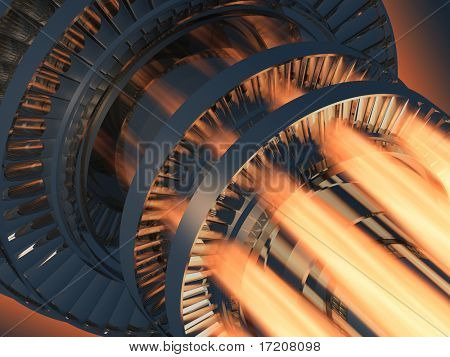 Gas turbine engine working, inside view. 3d rendering.