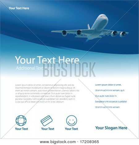 Template with airplane and copy space, vector