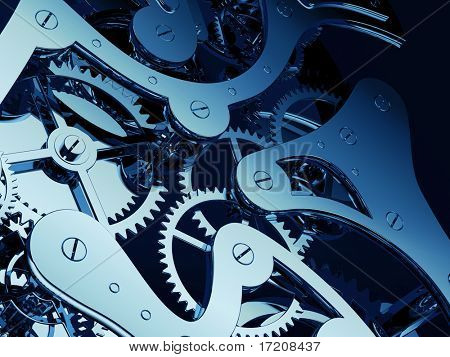 Shiny clock gears close up