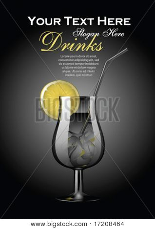 Vector cocktail template with copy space
