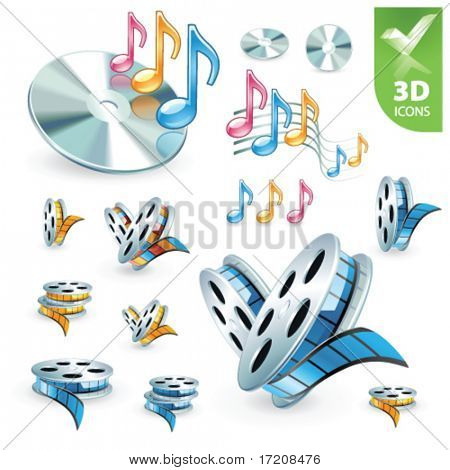 Multimedia vector 3D icon set