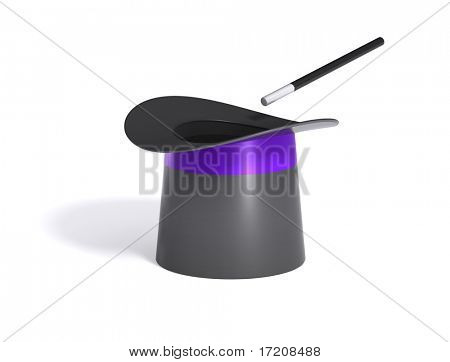 Magic hat and wand, isolated on white background, with path. See portfolio for version with multicolor stars