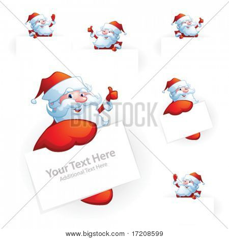 Santa Claus holding card, set of vector design elements with copy space. More variants in portfolio